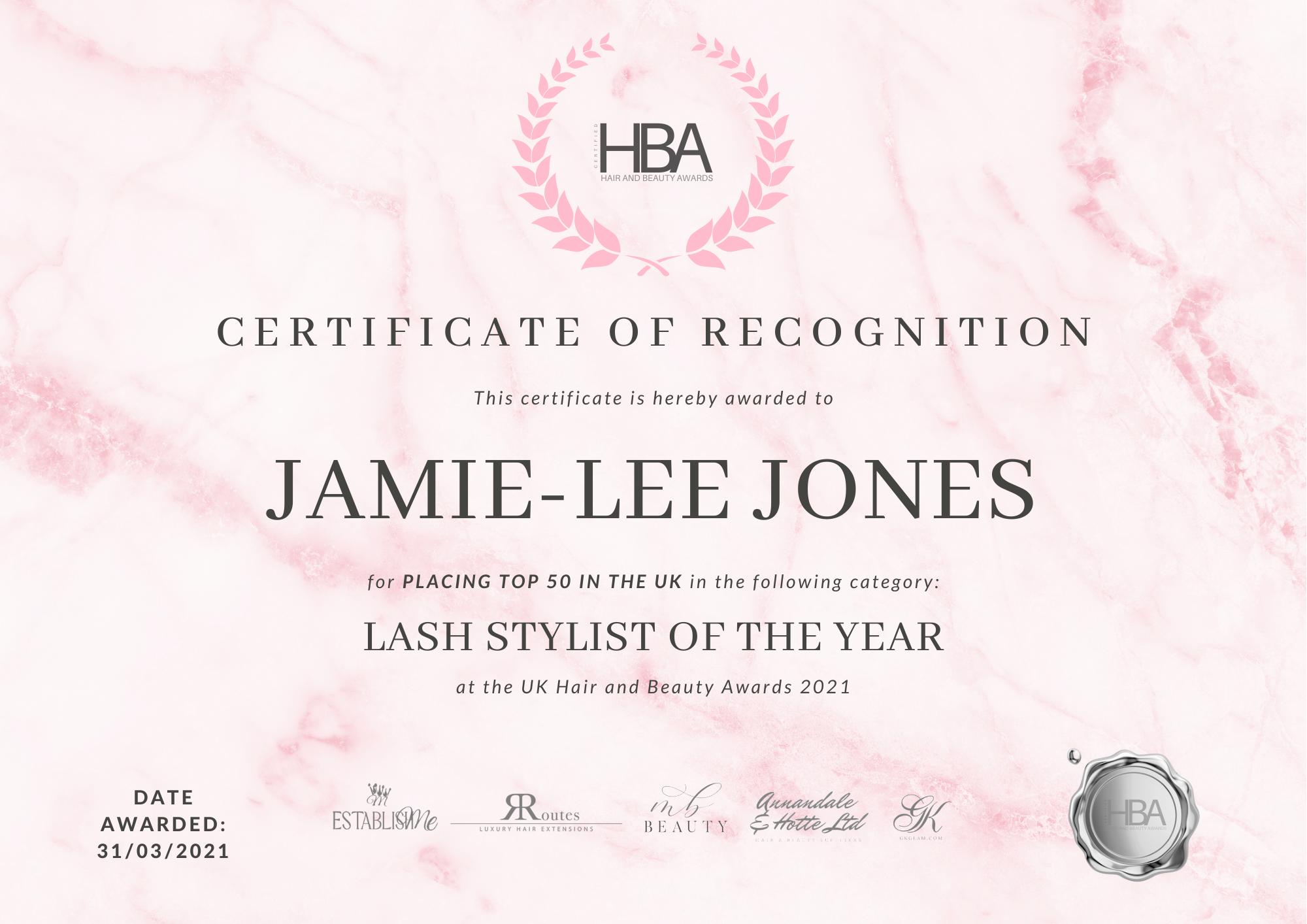 Jamie-Lee Jones – TOP 50 CERTIFICATE (1)[16248]