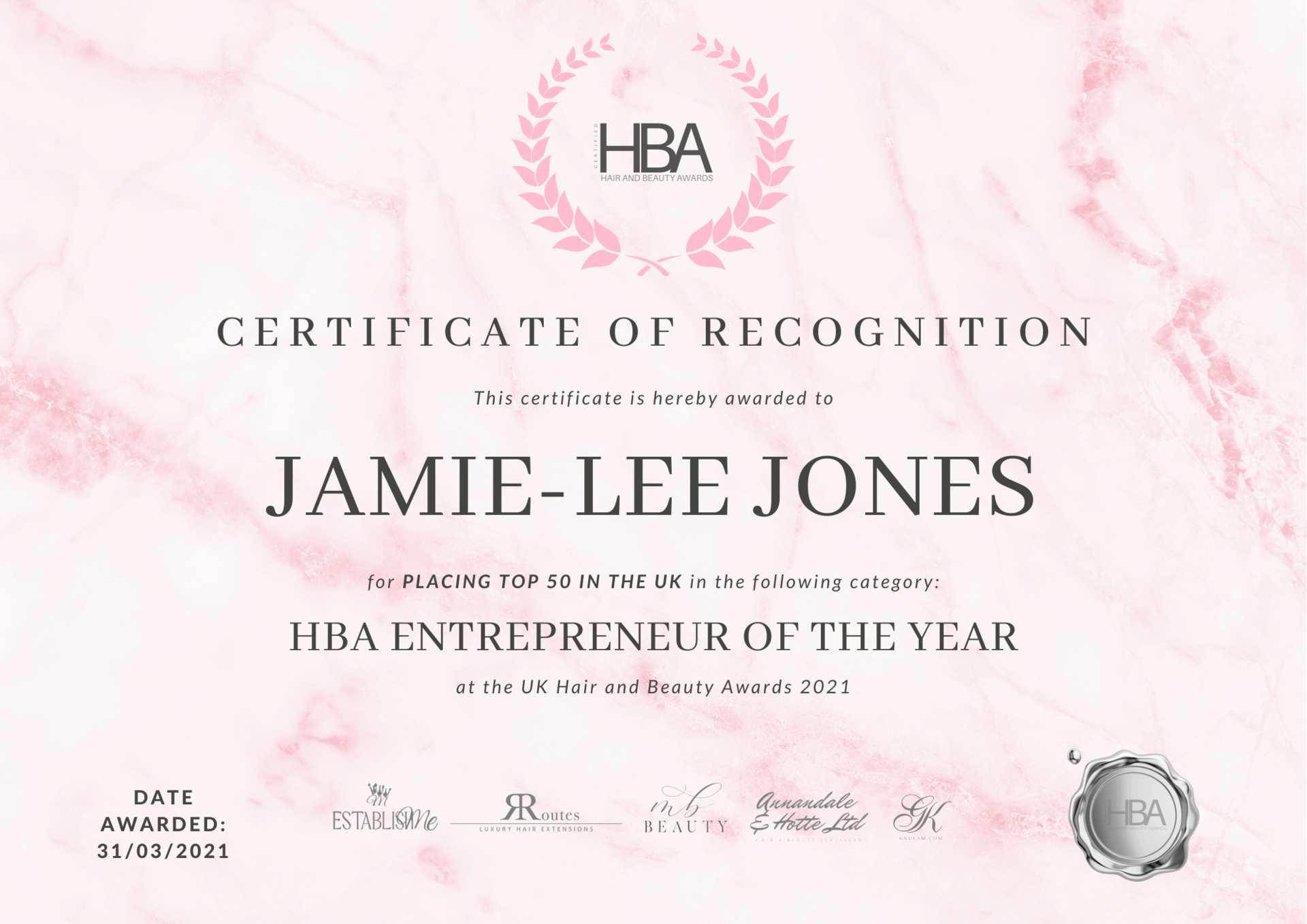 Jamie-Lee Jones – TOP 50 CERTIFICATE[16237]